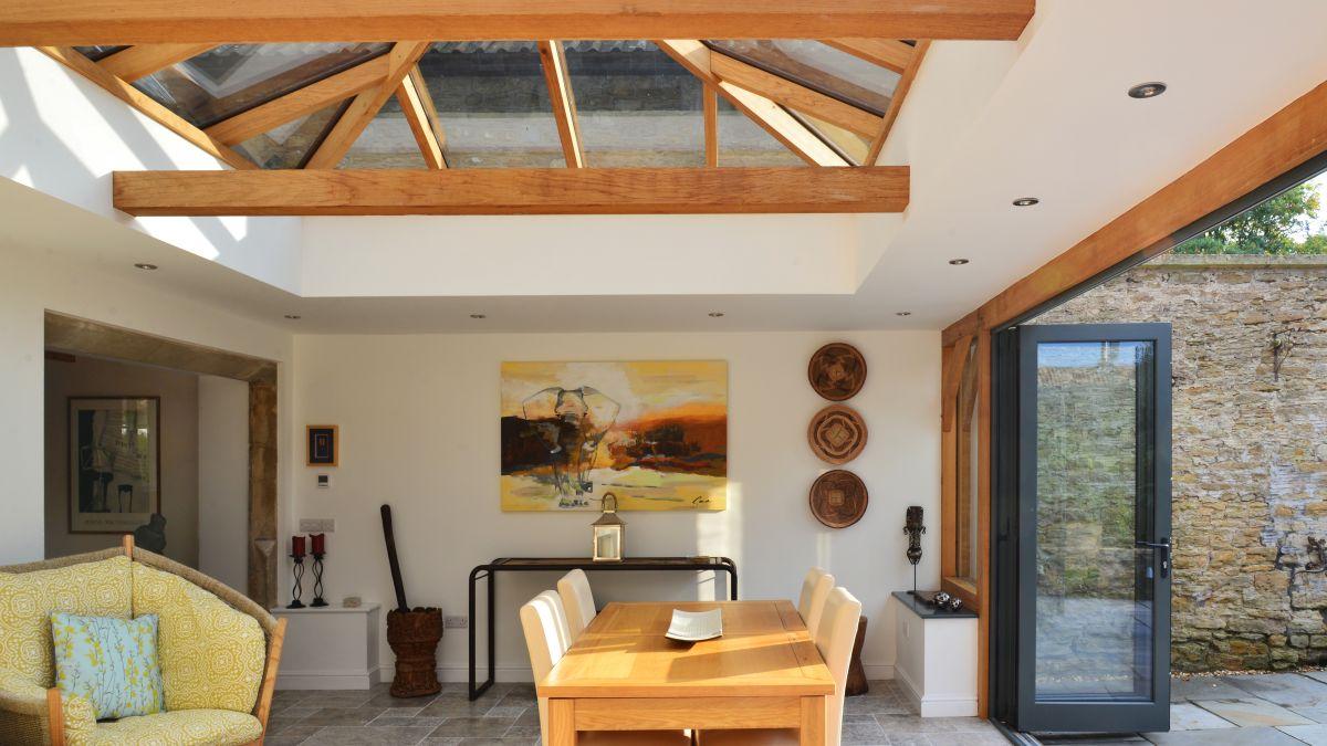 Oak Orangery with Modern Bi-Fold Doors