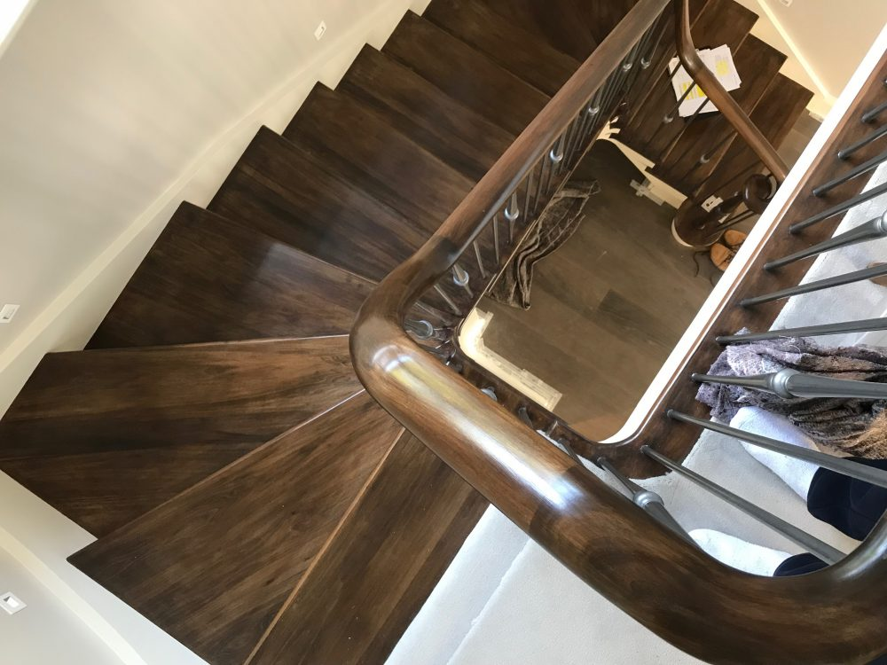 combination of softwood and tulipwood with metal spindles